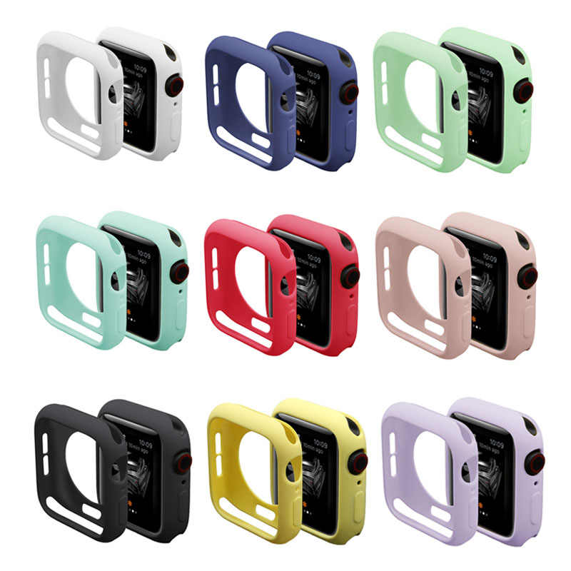 Candy Tpu Case Voor Apple Watch Serie 5 4 3 2 1 Screen Protector Bumper Cover Voor Iwatch 38 42 40 44 Mm Fit Ultra-Dunne Frame Band