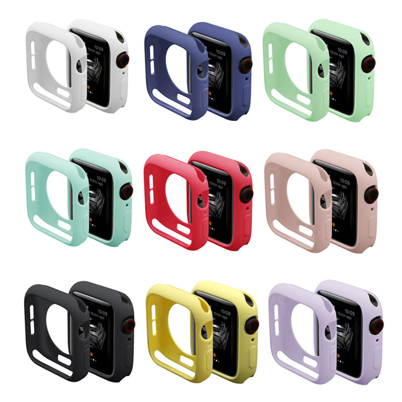 Candy TPU Case For Apple Watch Series 5 4 3 2 1 Screen Protector Bumper Cover For IWatch 38 42 40 44mm Fit Ultra-thin Frame Band