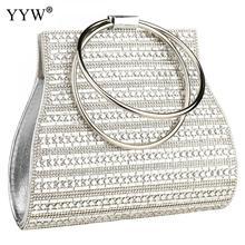 Evening-Clutch-Bag Purse Tote Handbags Clutches Round-Handle Silver Wedding Women European Fashion