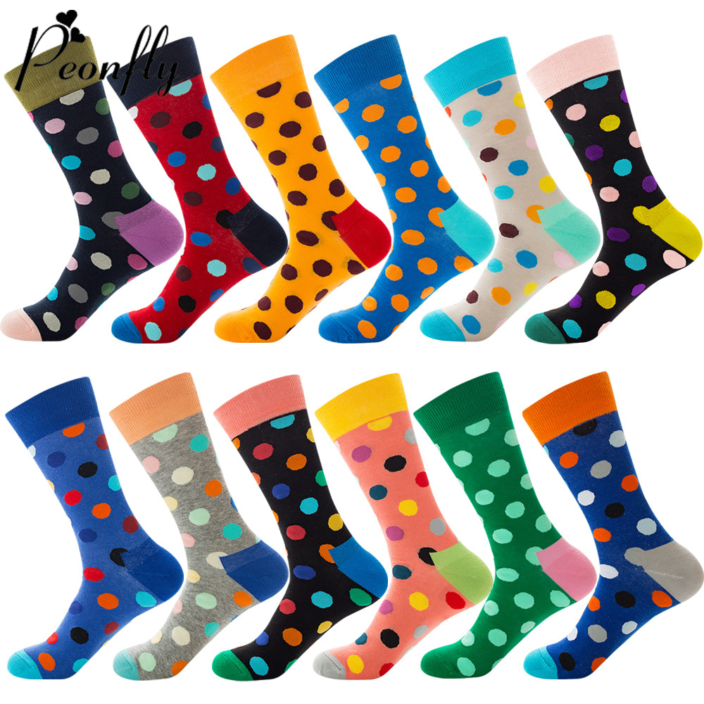 PEONFLY New 2019 Hot Happy Socks Men Colorful Dot Printed Design Combed Cotton Socks Casual Harajuku Crew Socks Funny Gift