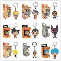 Funko POP llavero POP de bolsillo Amine Dragon Ball Super Saiyan GOKU VEGETA BEERUS GOTENKS, modelo, figura de acción de colección de juguetes de regalo
