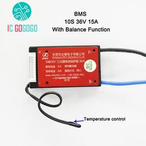 Image 1 - 10S 36 فولت بطارية ليثيوم لوح حماية BMS درجة الحرارة التحكم التوازن وظيفة مقاوم للماء 18650 يبو لي أيون 15A تهمة PCM