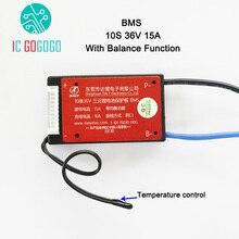 10s 36v bateria de lítio placa proteção bms função equilíbrio controle temperatura à prova dwaterproof água 18650 lipo li ion 15a carga pcm