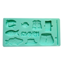 3D Fishing Silicone Soap Molds Candle Molds Peonies Clay Mould Cake Decorating Silicone Mold T3EA