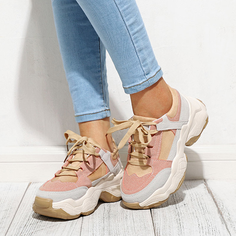 Women Chunky Classic Sneakers Suede Ladies Casual Platform Women's Autumn Comfort  Fashion Lace Up Woman Female Vulcanized Shoes