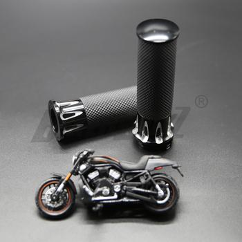 Uniwersalny motocykl czarny uchwyty do kierownicy aluminium dla Harley Sportster 883 1200 XL VRSC Touring Dyna Softail Custom 96-UP uchwyt B tanie i dobre opinie Grips-01 0inch 350g Alumium