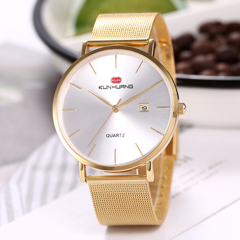 mens wristwatches Thin luxury gold stainless steel man watches 30m waterproof calendar original men's watch Golden Waches whatch image