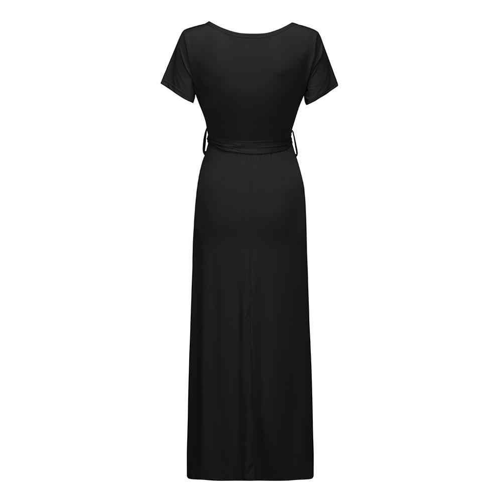 الصلبة قصيرة الأكمام فستان حمل النساء جودة عالية فستان طويل زائد حجم الصيف فساتين V الرقبة ملابس حمل