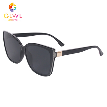 2021 okulary damskie marka luksusowe okulary przeciwsłoneczne spolaryzowane damskie okulary jazdy damskie Retro kocie oko okulary oversize czarna soczewka tanie i dobre opinie GLWL LZMGXWX CN (pochodzenie) WOMEN Cat eye Dla dorosłych ALLOY NONE UV400 55MM Polaroid B2101-1 65MM Black Brown Women s Sunglasses