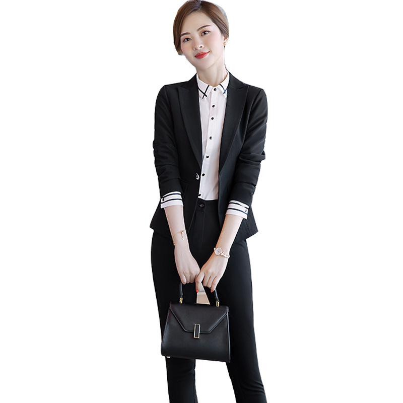 fashion female elegant Women's Black Skirt Suit dress Blazer costumes jacket Suits ladies office wear uniforms 2piece set outfit