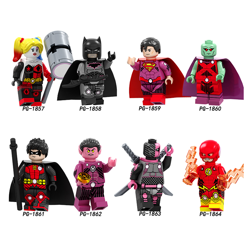 Single Super Heroes Harley Quinn Batman Superman Martian Manhunter Robin The Flash Deathstroke Arrow Building Blocks Kids Toys