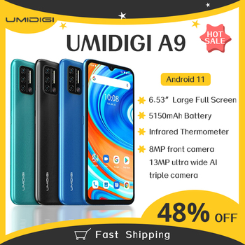 "Original UMIDIGI A9 Global Version Android 11 3GB 64GB 13MP AI Triple Camera Helio G25 Octa Core 6.53"" HD+ 5150mAh Cellphone 1"