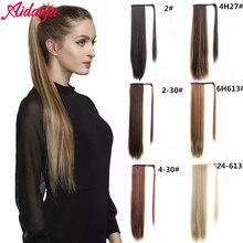 Headwear Hair-Extension Long Brown Straight Aidaiya Hairpiece Ponytail Wrap-Around Synthetic-Hair