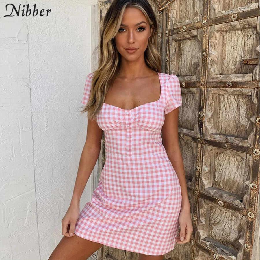 Nibber элегантное Ретро клетчатое мини-платье женское 2019 осеннее офисное женское Харадзюку розовое дикое тонкое повседневное короткое платье mujer