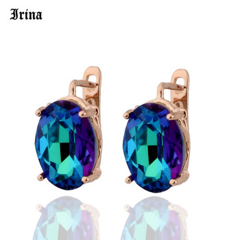 8 Color 585 Rose Gold Color Egg Shape Jewelry Colorful Earings High-quality Glass Stud Earrings for women Costume jewelery Gift 2
