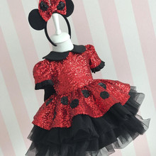 New Coming Infant Girls Birthday Gown With Big Bow Red Sequined Toddler Girl First Birthday Dress 9M-14Y Photography Props