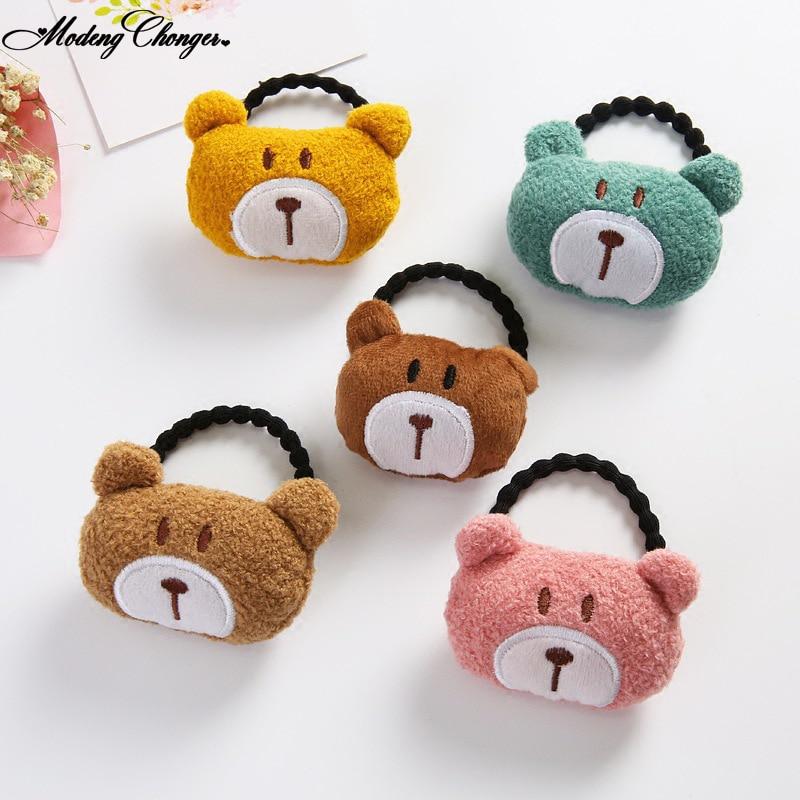 Children Plush Bear Rabbit Cats Fruits Hair Elastic Rubber Bands Cartoon Scrunchies Cotton Headband Kids Hair Accessories New