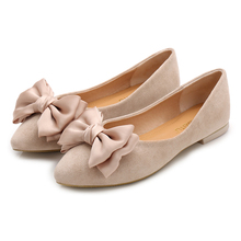 2019 Butterfly-knot Ladies Flat Shoes Flock Pointed Toe Leisure Large Size Boat Shoes High Quality Slip-on Shallow Women's Shoes