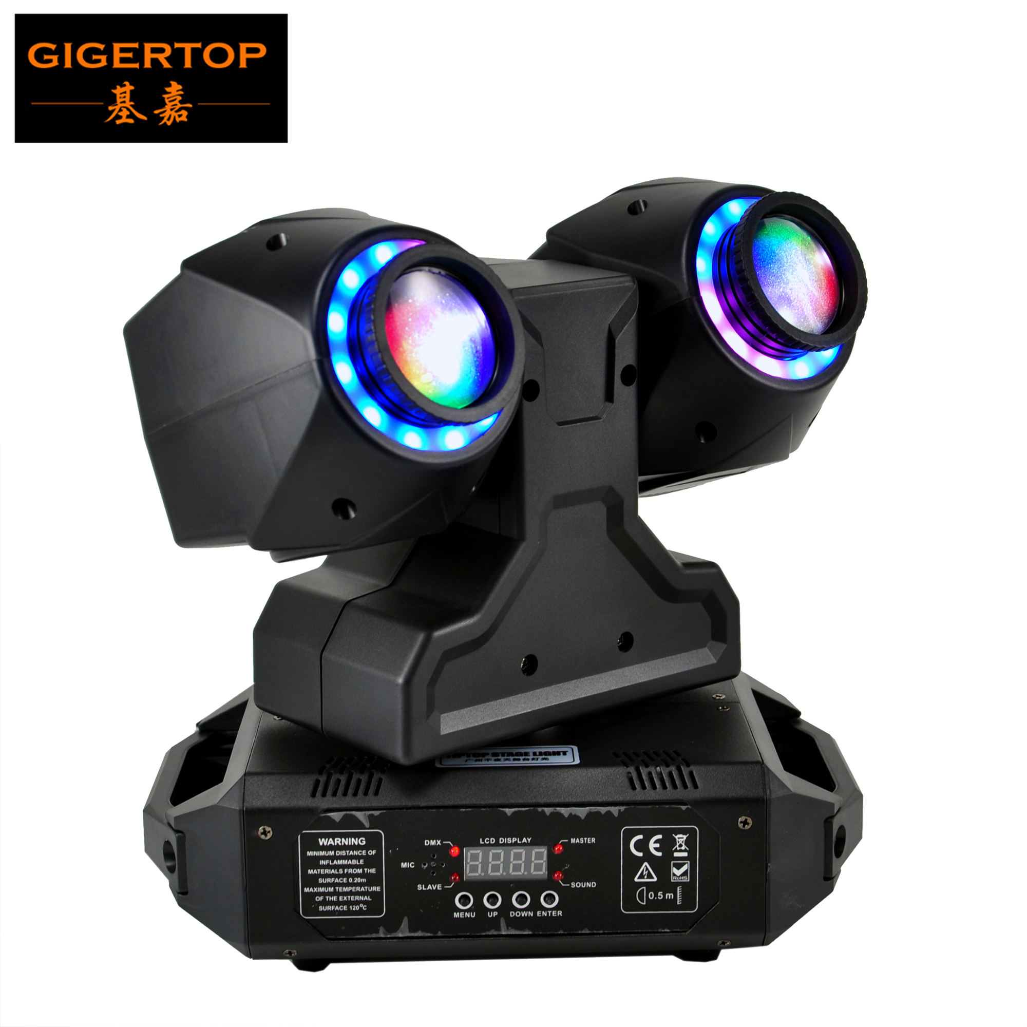 Gigertop New 2 X 30W Beam Led Moving Head Light With Halo 5050 SMD RGB Color Effect Ring Disco Ball Colorful KTV Light TP-L230