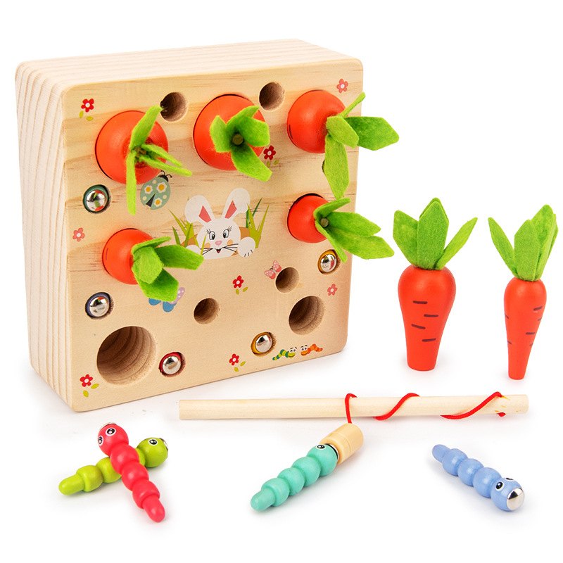 Montessori Wooden Toys Caterpillar Eats The Carrot Kids Catch Worms Matching Puzzle Games Early Education Interactive Math Toys