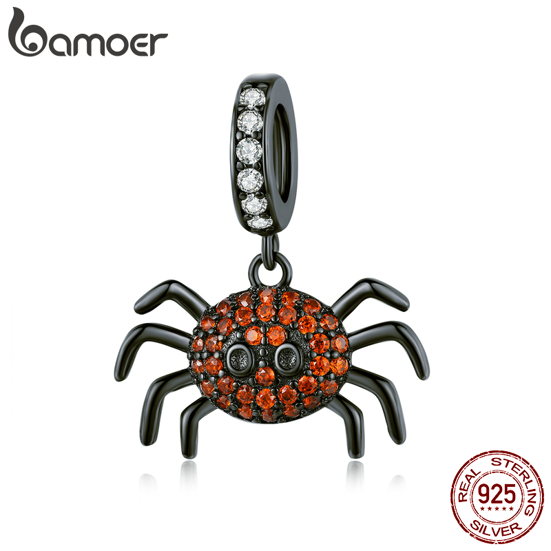 Bamoer Dark Spider Pendant Charm For Original Snake Bracelet 925 Sterling Silver Black Gold Plated Fashion Jewelry SCC1416
