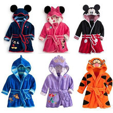 children baby sleepwear cartoon robe hooded pajama sets autumn spring flannel Night gown cute kids clothes with belt girls boy(China)