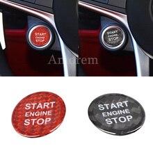 คาร์บอนไฟเบอร์สำหรับ Alfa Romeo Giulia Stelvio เครื่องยนต์หยุดปุ่มฝาครอบสติกเกอร์รถจัดแต่งทรงผม