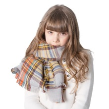 Fashion Autumn Winter girl Kids scarf Cashmere Warm Wool Plaid scarves Square Shawl plaid wool blended color blocking square scarf