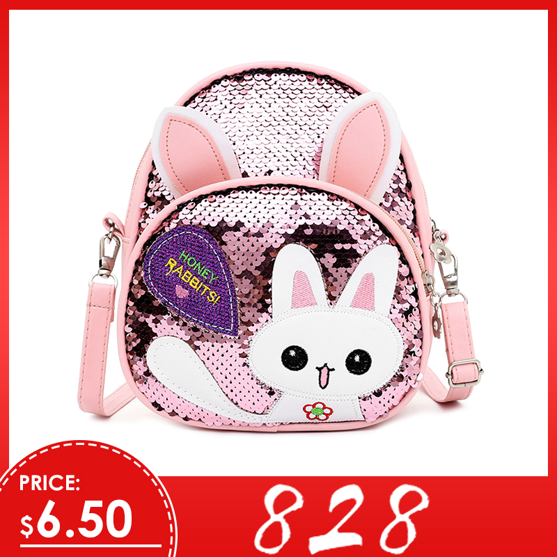 Sequins Backpack Knapsack Shoulder-Bags Rabbit-Ear Small Girls School Casual Children