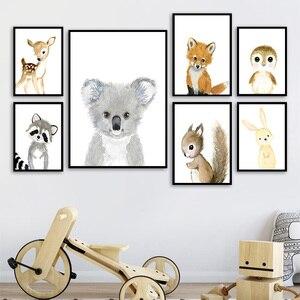 Image 3 - 만화 폭스 코알라 사슴 토끼 다람쥐 벽 아트 캔버스 회화 북유럽 포스터와 인쇄 보육 벽 그림 어린이 방 장식