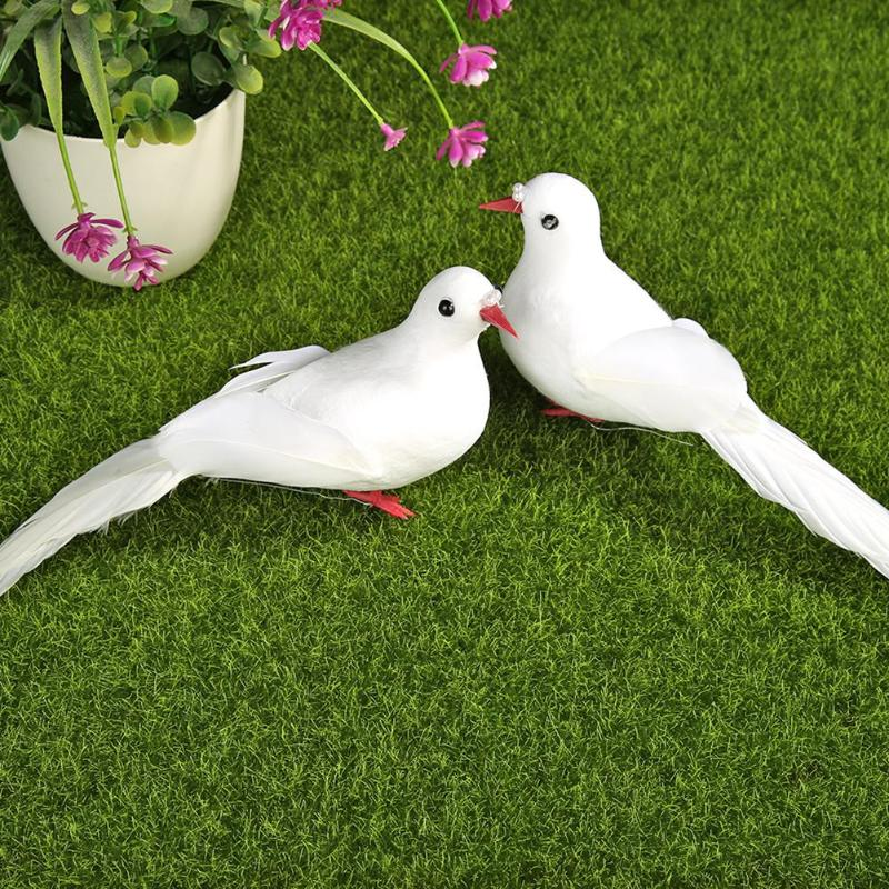 2pcs Simulation Clip Birds White Pigeon Artificial Foam Feather DIY Crafts Wedding Home Garden Decorative Ornaments
