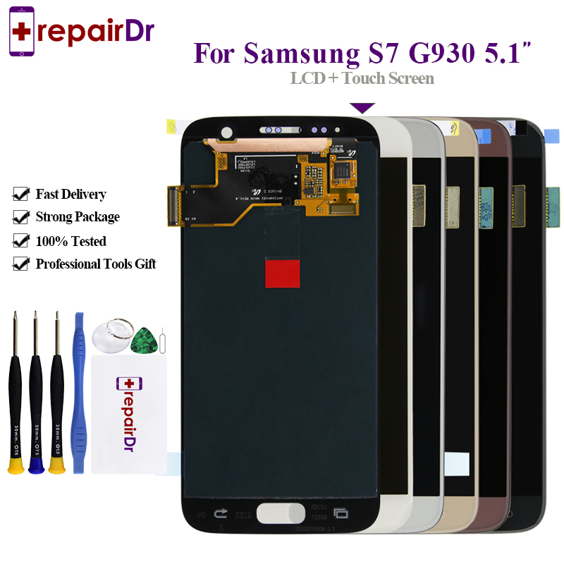5.1'' AMOLED Lcd For Samsung S7 G930F G930FD Lcd Display Touch Screen Digitizer Assembly With Frame For Samsung S7 Lcd