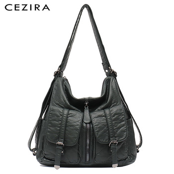 CEZIRA Large Washed PU Leather Backpack For Women Fashion Casual Shoulder Bag Female Soft Functional Travel Knapsack School Bags - discount item  23% OFF Women's Handbags