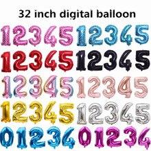 32 polegada médio 0-9 número de filme de alumínio balões festa de aniversário decoração balões de folha de ouro
