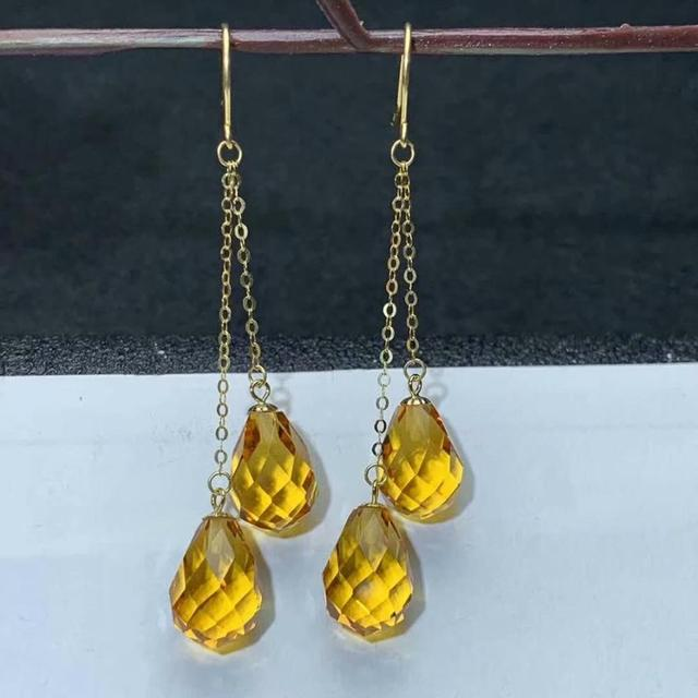 shilovem 18k yellow gold citrine drop earrings  fine Jewelry women party new classic plant  gift 8*11mm myme0811222j 2