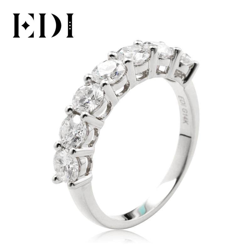 EDI Moissanites Wedding Ring Band 2.1ctw Moissanites Lab Grown Diamond Real 14K White Gold 7 Stone Band For Women Tail Ring