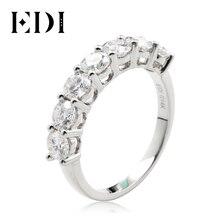 EDI Moissanites ślubna opaska pierścieniowa 2.1ctw Moissanites Lab Grown Diamond Real 14K białe złoto 7 kamienna opaska dla kobiet pierścionek z ogonkiem