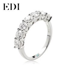 Pulseira de ouro branco real 14k 7 de pedra para anel de cauda feminino edi moissanites anel de casamento banda 2.1ctw moissanites laboratório crescido diamante