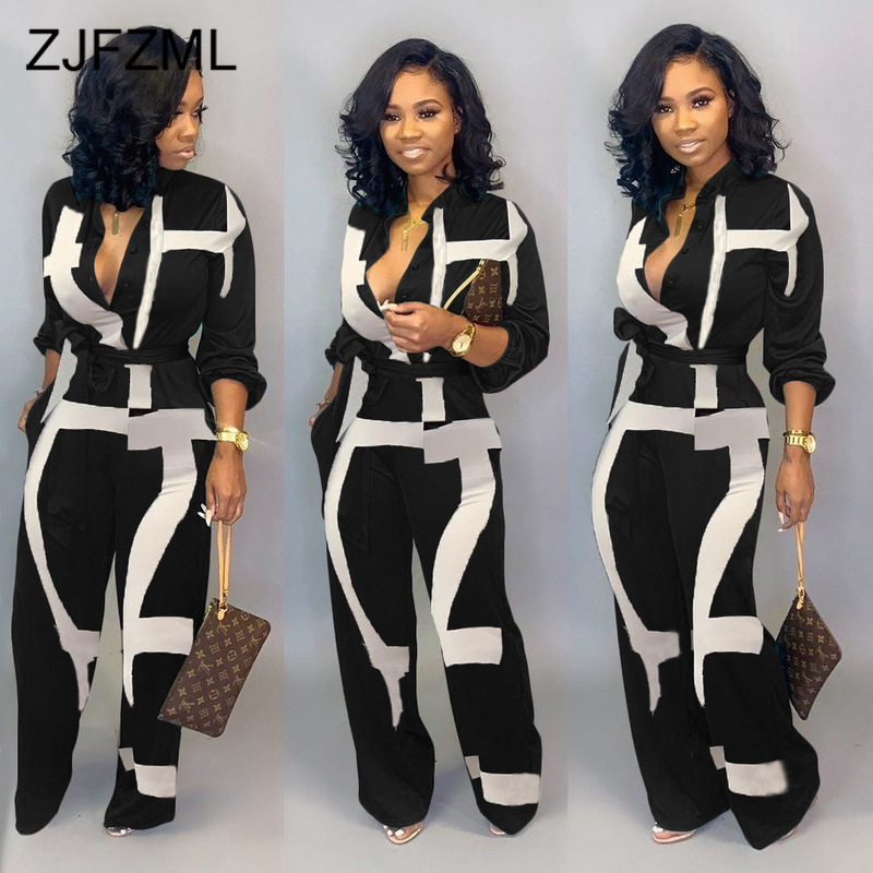 Color Block Button Up Causal Rompers Womens Jumpsuit Turn Down Collar Long Sleeve Sashes Bodysuit Plus Size Sexy Long Playsuit