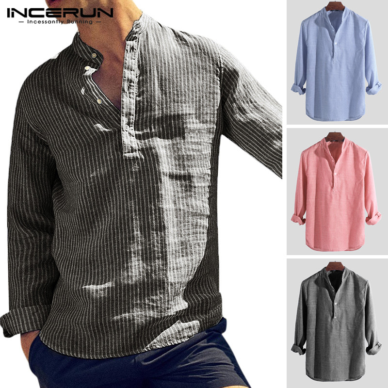 INCERUN Autumn Vintage Men Brand Shirts Striped Chic Stand Collar Button Long Sleeve Camisa Fashion Casual Shirts Men 2020 S-5XL