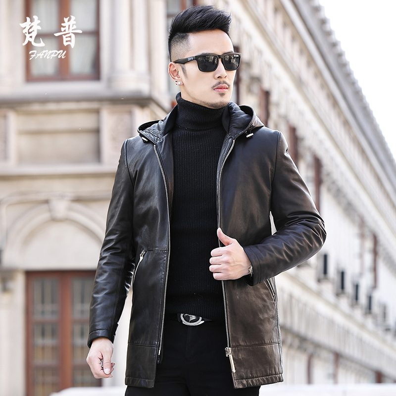 Genuine Leather Autumn Winter Long Coat Men Goatskin Down Jacket Hooded Hat Chaqueta Cuero Hombre F-8586 KJ1435
