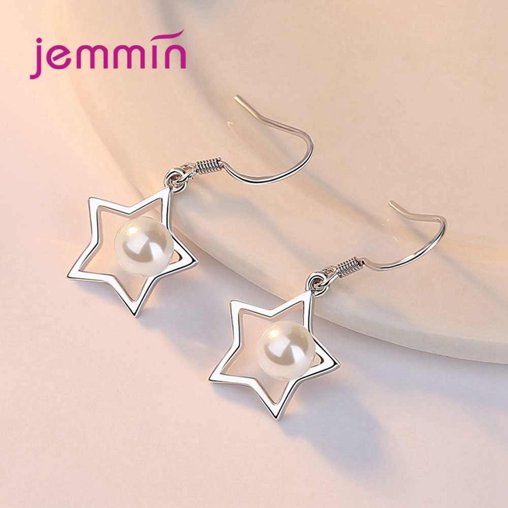 Mode S925 Sterling Silber Halskette Ohrring Pentagramm Set für Frauen Mädchen Geburtstag Geschenk Geometrische Stil Schmuck 2 teile/satz