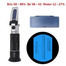 Refraktometer Honig Tester Brix Baume Wasser 3 in 1 Feuchtigkeit Meter Für Honig Für Imker Zucker Meter ATC Honig Refraktometer