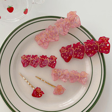 1Pcs Japanese Cute Girls Strawberry Hair Clip Acetate Acrylic Transparent Clips Candy Color Women Hairpins Accessories
