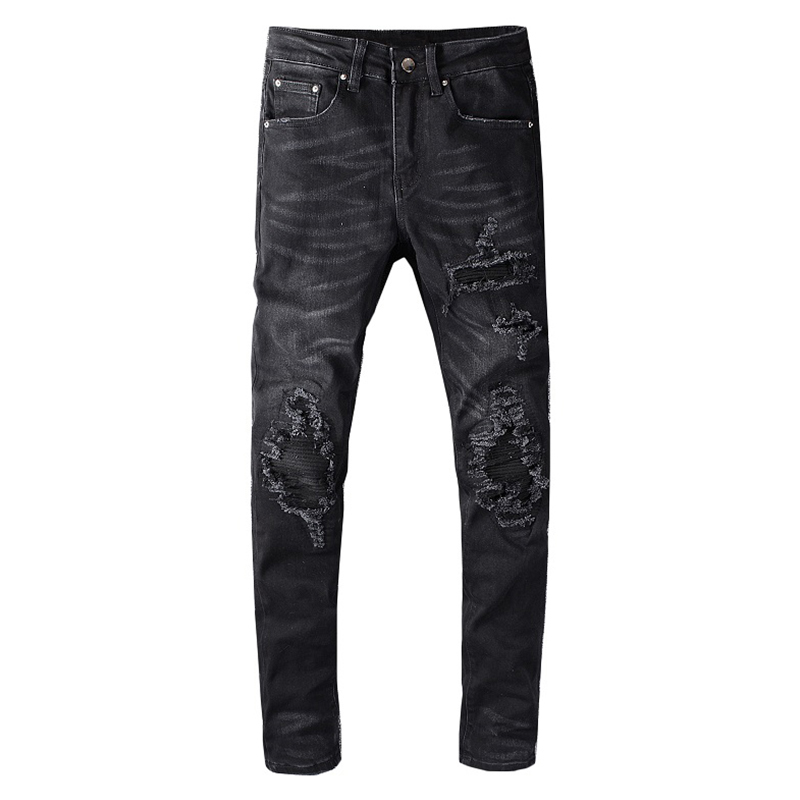 Sokotoo Men's Streetwear Black Skinny Biker Jeans Fashion Holes Ripped Stretch Denim Pencil Pants