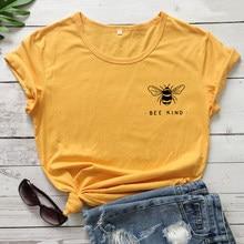 Camiseta de impressão de bolso bonito abelha tipo engraçado feminino inspirador citação bondade tshirt unisex ser um bom cristão humano topos t