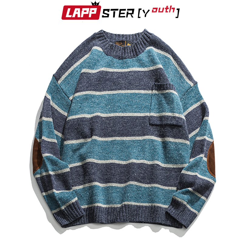 LAPPSTER-Youth Men Patchwork Vintage Striped Sweater 2020 Mens Winter Blue Sweater Pocket Women Oversized Kpop Fashiosn Clothing