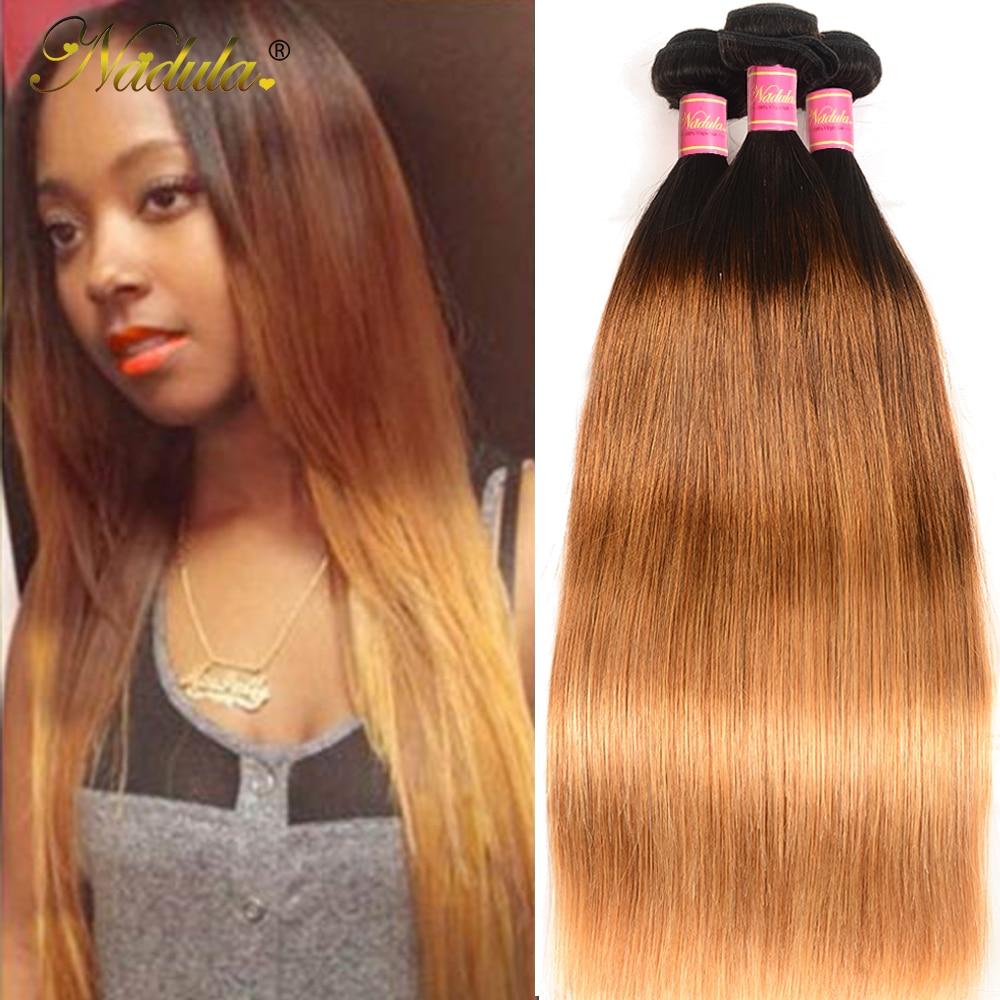 Nadula Hair 3 Bundles Straight Hair  Ombre Brown   1B/4/27 Ombre Hair Bundles 1
