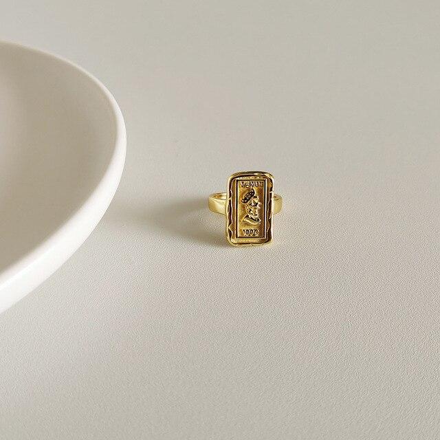 Фото женское прямоугольное кольцо louleur золотое 925 пробы серебряное цена