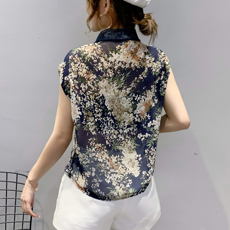 Summer Blouse Sleeveless Shirts Women Vintage Floral Print Blouses Ladies Tops 2021 Blusas Mujer Casual Chiffon shirt 10225 5